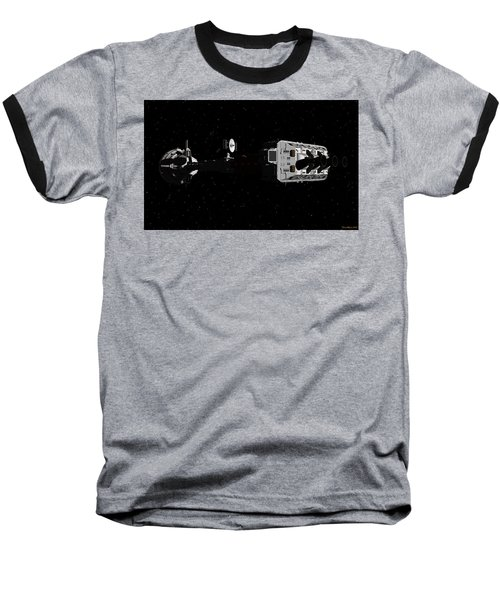 Spaceship Uss Cumberland Traveling Through Deep Space Baseball T-Shirt by David Robinson