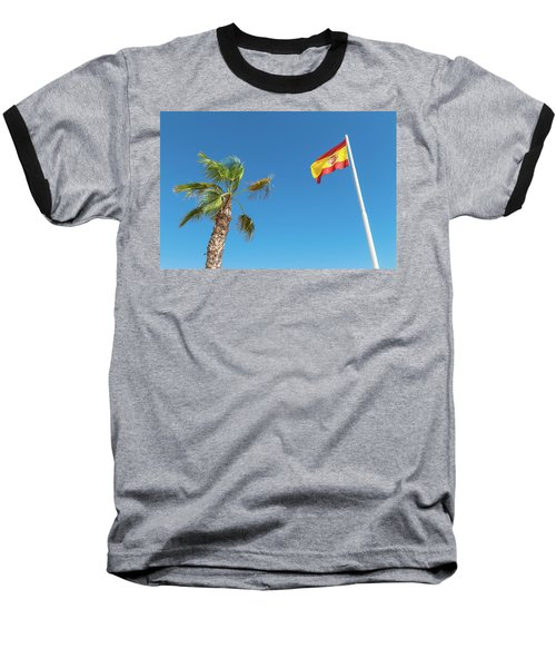 Spanish Flag And Palm Tree In The Blue Sky Baseball T-Shirt