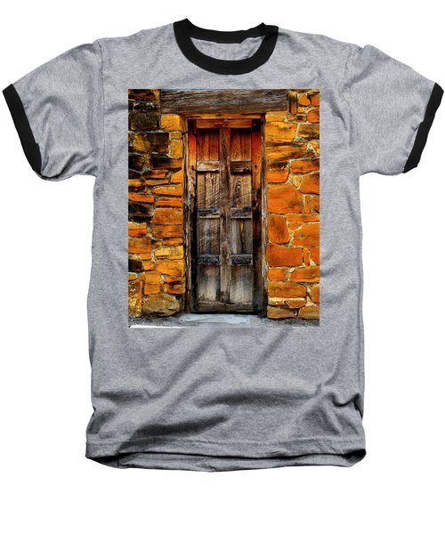 Spanish Mission Door Baseball T-Shirt by Perry Webster