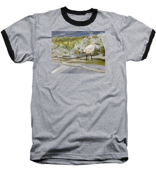 Baseball T-Shirt featuring the painting Sparking Snowy Egret by Phyllis Beiser
