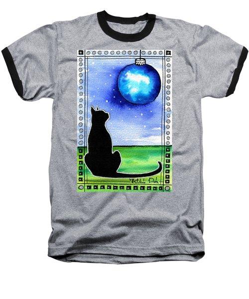 Sparkling Blue Bauble - Christmas Cat Baseball T-Shirt