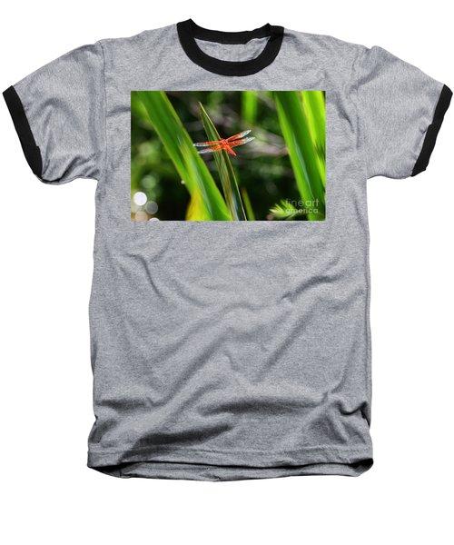 Sparkling Red Dragonfly Baseball T-Shirt