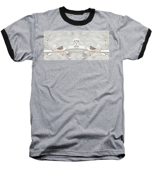 Baseball T-Shirt featuring the photograph Sparrow In The Cherry Tree by Lila Fisher-Wenzel