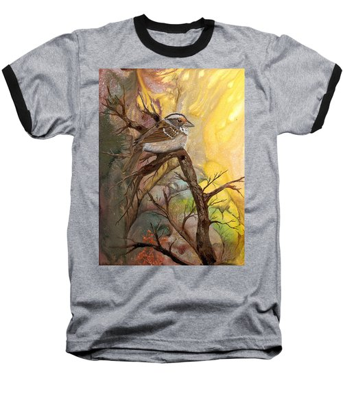 Baseball T-Shirt featuring the painting Sparrow by Sherry Shipley
