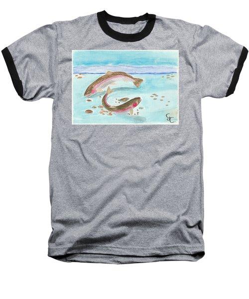 Spawning Rainbows Baseball T-Shirt by Gareth Coombs