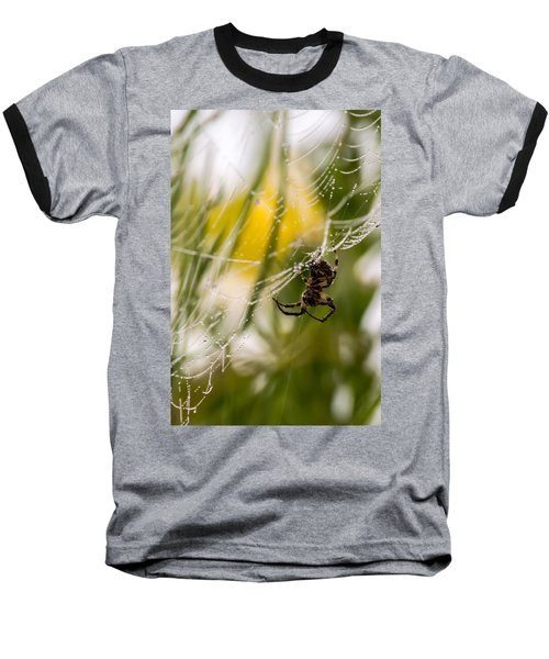 Spider And Spider Web With Dew Drops 04 Baseball T-Shirt