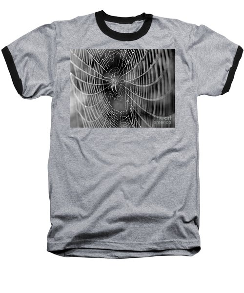 Spider In A Dew Covered Web - Black And White Baseball T-Shirt
