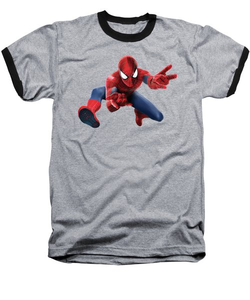 Spider Man Splash Super Hero Series Baseball T-Shirt by Movie Poster Prints