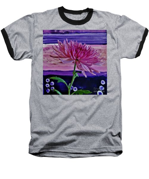 Baseball T-Shirt featuring the photograph Spider Mum With Abstract by Marsha Heiken