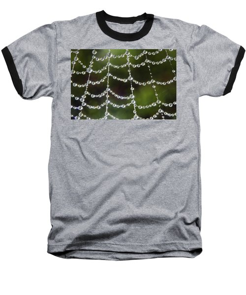 Baseball T-Shirt featuring the photograph Spider Web Decorated By Morning Fog by William Lee
