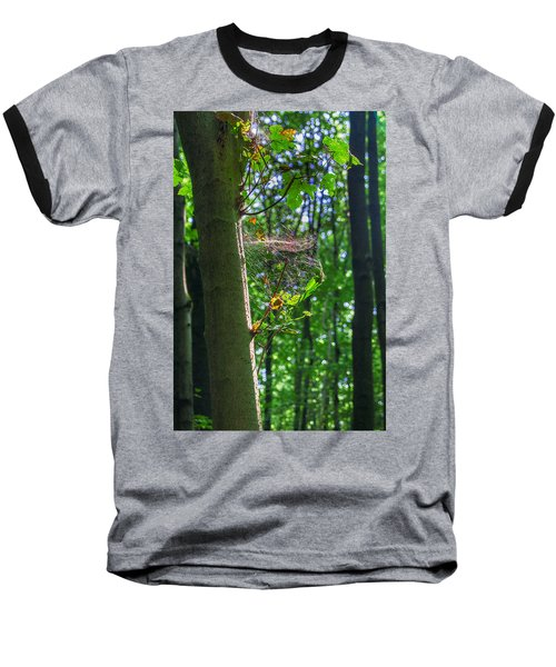 Spider Web In A Forest Baseball T-Shirt