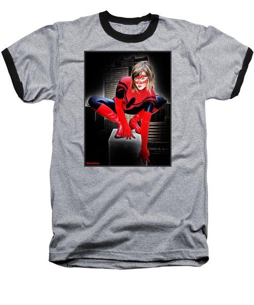Spiderilla At Night Baseball T-Shirt