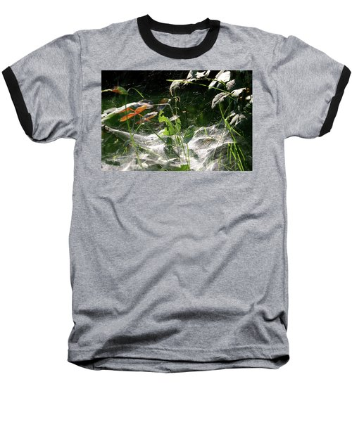 Spiderweb Over Rose Plants Baseball T-Shirt