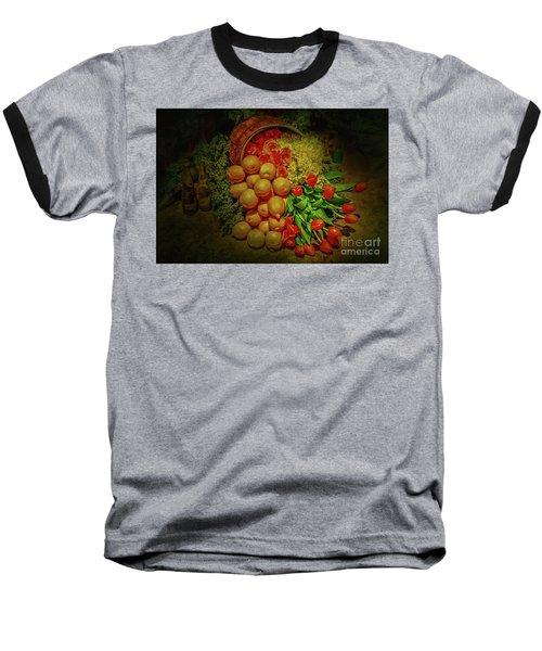 Spilled Barrel Bouquet Baseball T-Shirt by Sandy Moulder