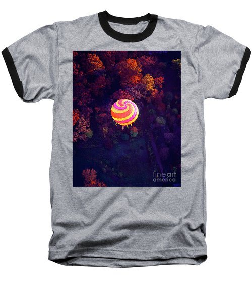 Spiral Colored Hot Air Balloon Over Fall Tree Tops Mchenry   Baseball T-Shirt