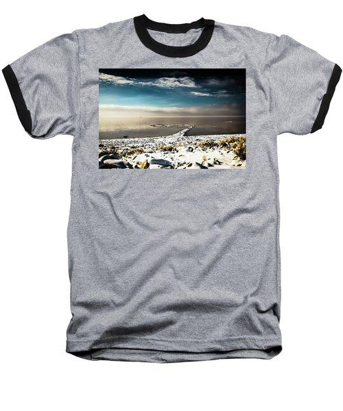 Spiral Jetty In Winter Baseball T-Shirt
