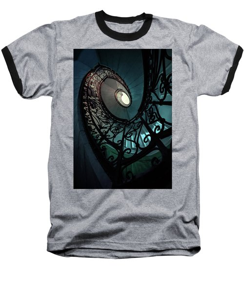 Baseball T-Shirt featuring the photograph Spiral Ornamented Staircase In Blue And Green Tones by Jaroslaw Blaminsky