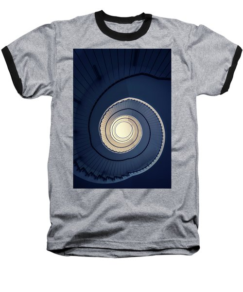 Baseball T-Shirt featuring the photograph Spiral Staircase In Blue And Cream Tones by Jaroslaw Blaminsky