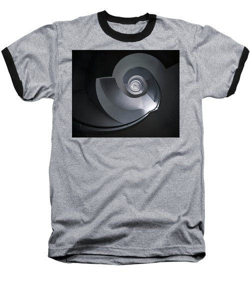 Baseball T-Shirt featuring the photograph Spiral Staircase In Grey And Blue Tones by Jaroslaw Blaminsky