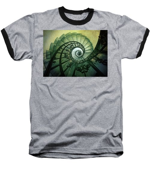 Baseball T-Shirt featuring the photograph Spiral Stairs In Green Tones by Jaroslaw Blaminsky