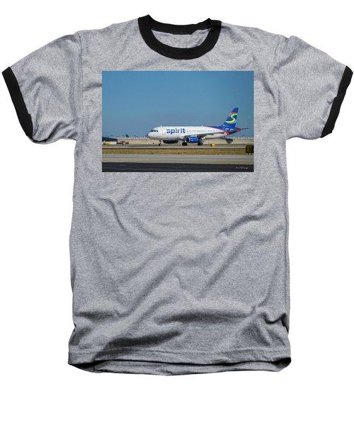 Baseball T-Shirt featuring the photograph Spirit Airlines Airbus A320 N608nk Airplane Art by Reid Callaway