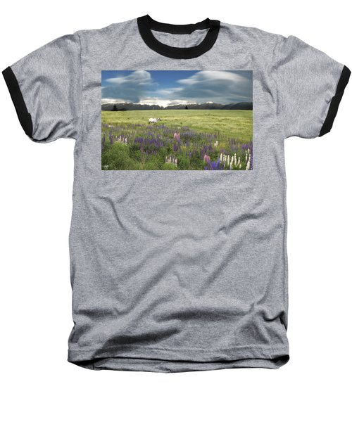 Spirit Pony In High Country Lupine Field Baseball T-Shirt