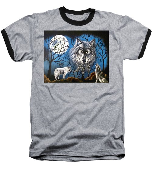Spirit Wolf Baseball T-Shirt by Teresa Wing
