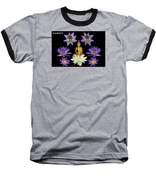 Spiritual Water Lilly Baseball T-Shirt by Gary Crockett