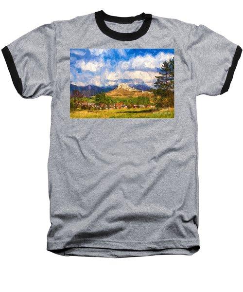 Castle Above The Village Baseball T-Shirt by Les Palenik