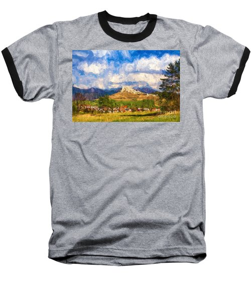 Castle Above The Village Baseball T-Shirt