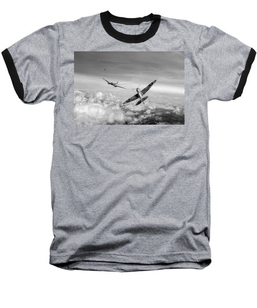 Baseball T-Shirt featuring the photograph Spitfire Attacking Heinkel Bomber Black And White Version by Gary Eason