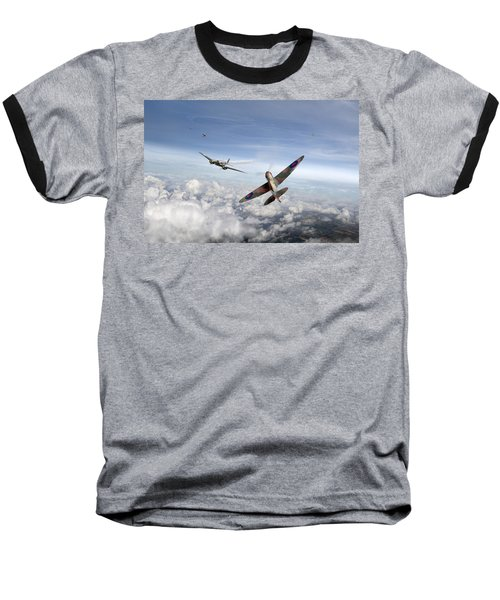 Baseball T-Shirt featuring the photograph Spitfire Attacking Heinkel Bomber by Gary Eason