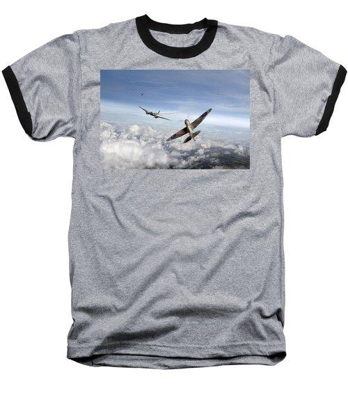 Spitfire Attacking Heinkel Bomber Baseball T-Shirt by Gary Eason