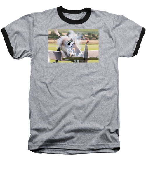 Spitfire Engine Start Smoke Rings Baseball T-Shirt by Gary Eason