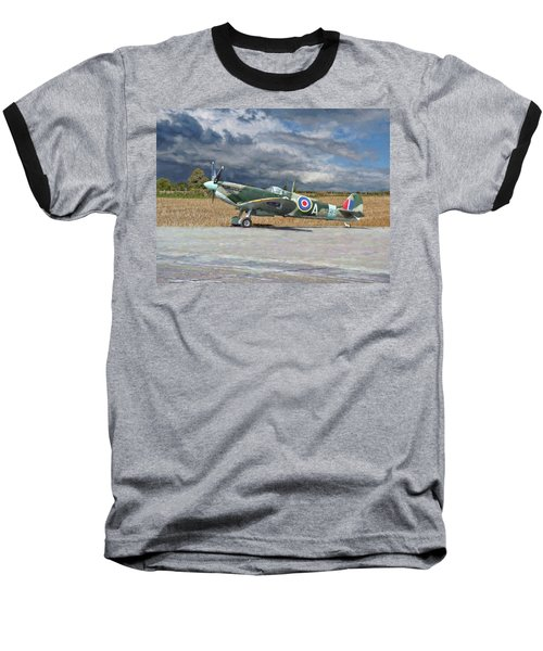 Baseball T-Shirt featuring the photograph Spitfire Under Storm Clouds by Paul Gulliver