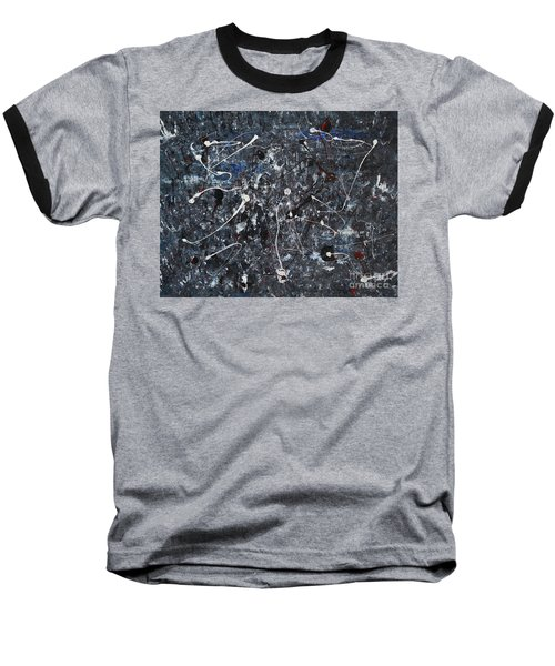 Baseball T-Shirt featuring the painting Splattered - Grey by Jacqueline Athmann