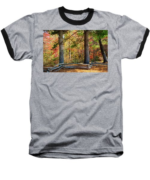 Split Rail Fence And Autumn Leaves Baseball T-Shirt