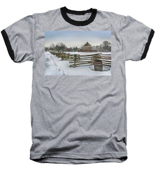 Split Rail Fence In Front Of Colonial Williamsburg Magazine Baseball T-Shirt