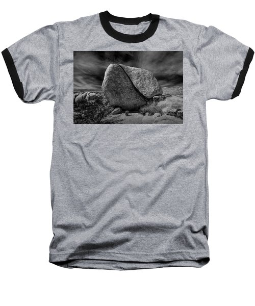 Baseball T-Shirt featuring the photograph Split Rock In Black And White At Joshua Tree National Park by Randall Nyhof