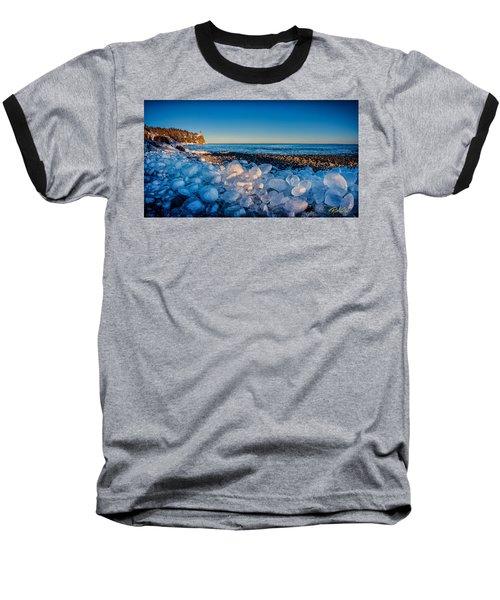 Split Rock Lighthouse With Ice Balls Baseball T-Shirt
