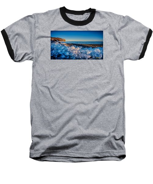 Split Rock Lighthouse With Ice Balls Baseball T-Shirt