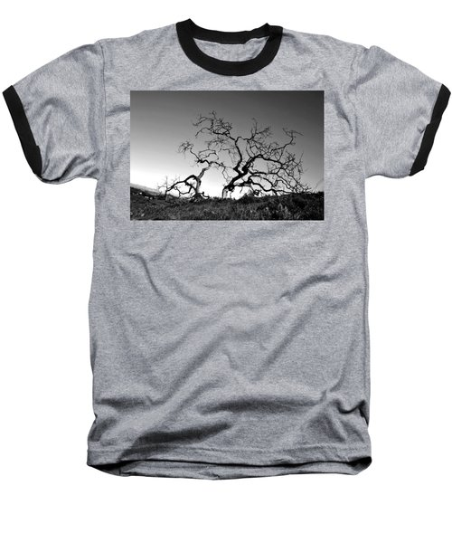 Split Single Tree On Hillside - Black And White Baseball T-Shirt