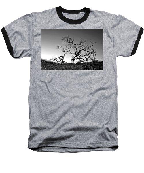 Split Single Tree On Hillside - Black And White Baseball T-Shirt