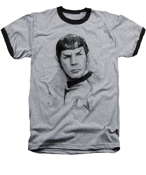 Spock Portrait Baseball T-Shirt by Olga Shvartsur