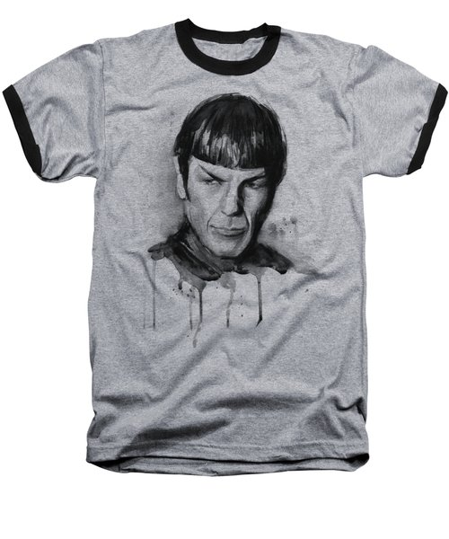 Spock Portrait Watercolor Star Trek Fan Art Baseball T-Shirt by Olga Shvartsur