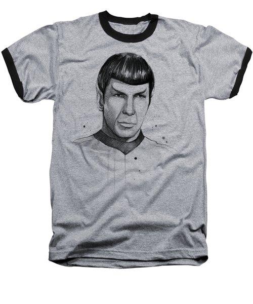 Spock Watercolor Portrait Baseball T-Shirt