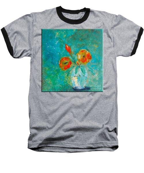 Palette Knife Floral Baseball T-Shirt by Lisa Kaiser