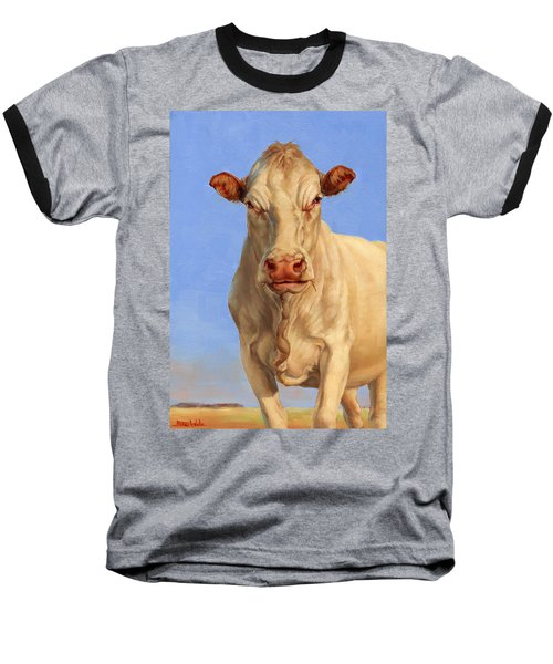 Baseball T-Shirt featuring the painting Spooky Cow by Margaret Stockdale