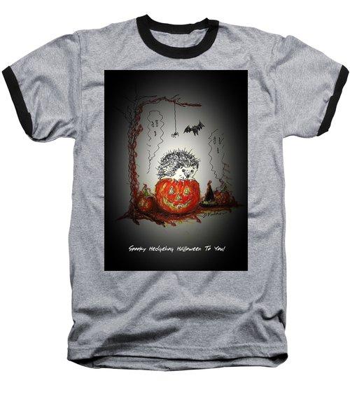 Spooky Hedgehog Halloween Baseball T-Shirt