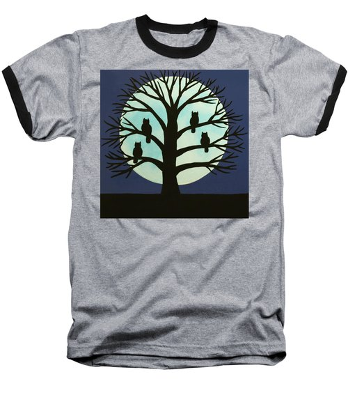 Spooky Owl Tree Baseball T-Shirt